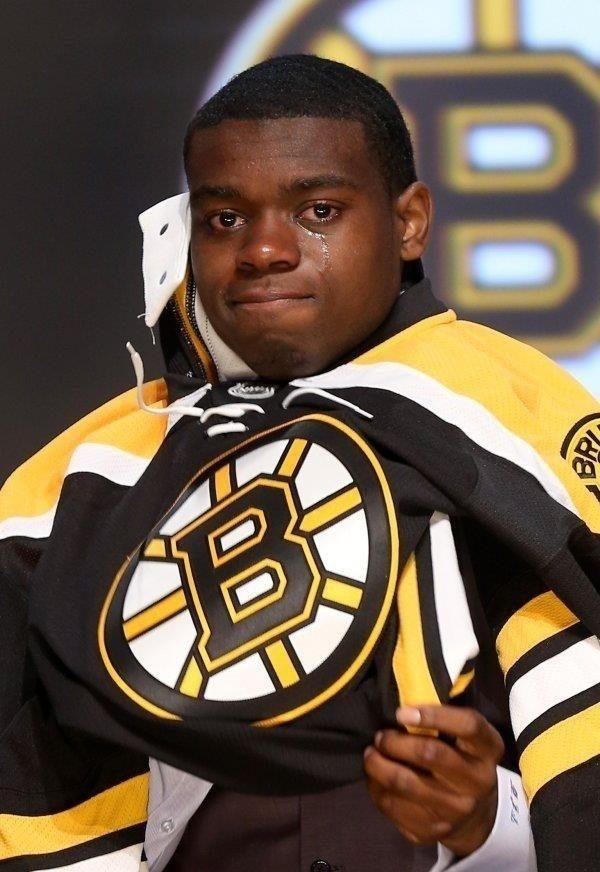 A foto de time de Malcolm Subban depois dele ter sido recrutado na primeira rodada pelos Bruins no ano passado.