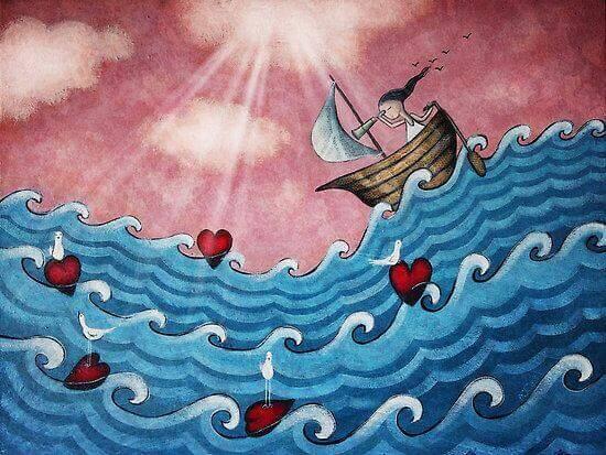 Niña-en-barco-sobre-el-oleaje