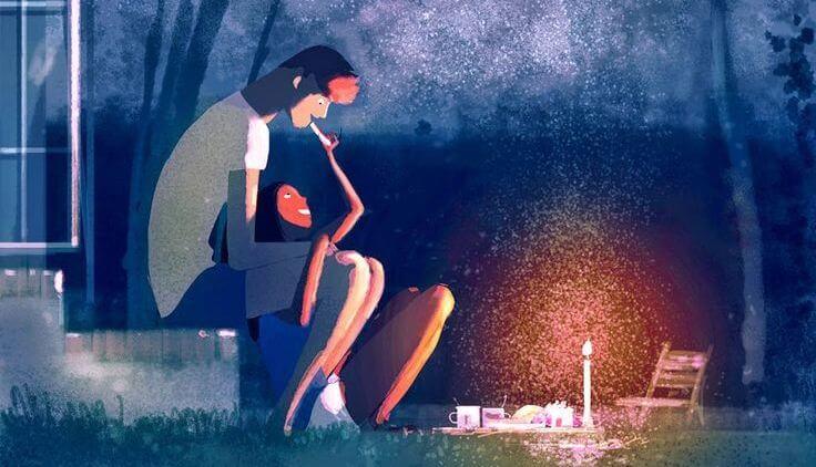 pareja-cenando-en-el-jardín-con-velas