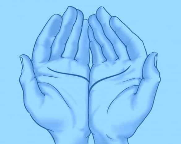 junte as palmas das mãos