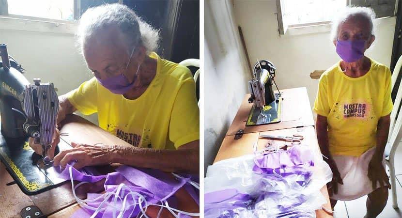 Aos 87 anos dona Bernarda produz máscaras para serem doadas a quem precisar 1