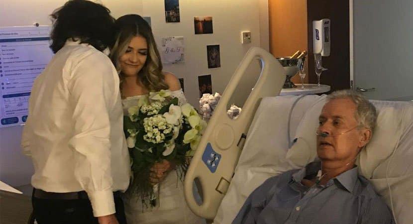 Noiva se casa em hospital no último dia de vida do pai que estava com câncer