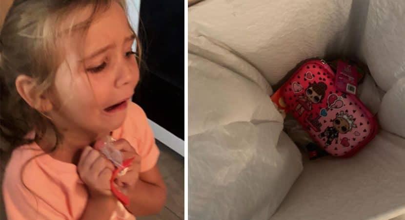 Capa Filha joga estojo no lixo por nao gostar e mae a faz ir para a escola com um feito de saco plastico