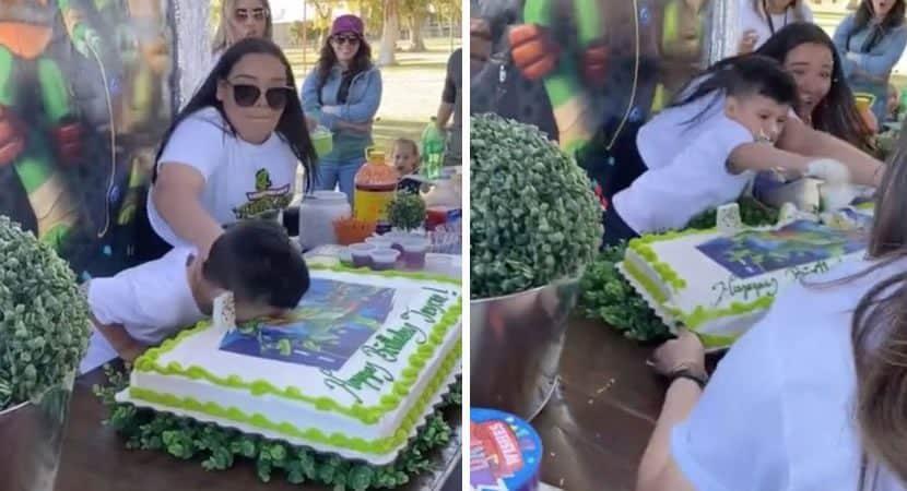 menino se revolta com mulher que empurra seu rosto no bolo de aniversario Queria respeito