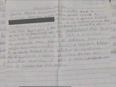 2 Capa Pai de verdade Menino escreve pedido a mao para ter sobrenome do padrasto Juiza se comove e autoriza