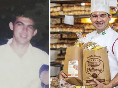 2 capa Sem dinheiro para comprar pao durante a infancia hoje homem tem a propria padaria