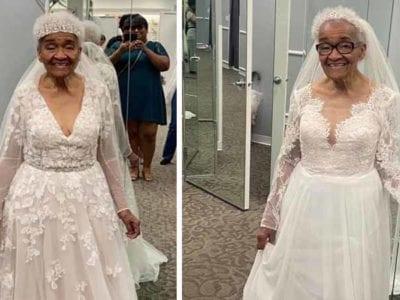 3 Capa Neta realiza sonho da avo de 94 anos e a veste de noiva Feliz em testemunhar isso