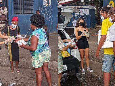 1 capa Para comemorar o aniversario de 15 anos menina distribui comida nas ruas com ajuda da PM
