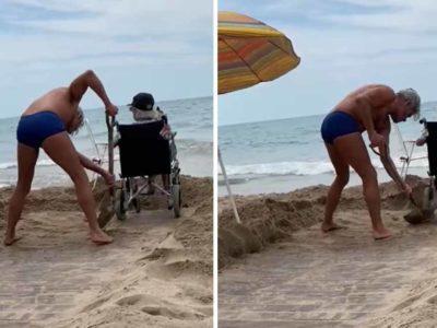 4 Capa Filho cava na areia e abre caminho para que sua mae em uma cadeira de rodas possa contemplar o mar