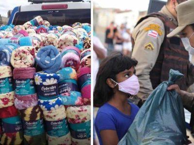 4 Capa Policiais promovem Forca Solidaria e doam cobertores e cestas basicas para pessoas necessitadas
