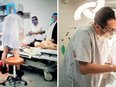 3 capa Medico que estava sendo atendido em pronto socorro se levanta de maca para ajudar outro paciente
