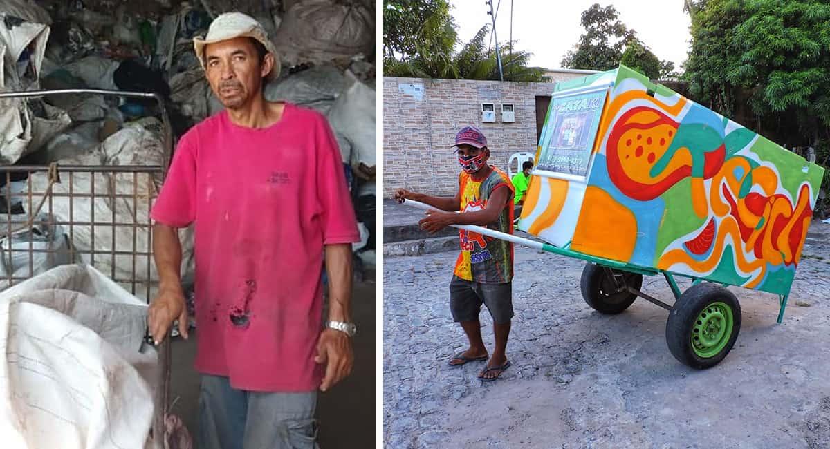 2 capa Homem ajuda catadores com deficiencia fisica que nao tem dinheiro para comprar carroca